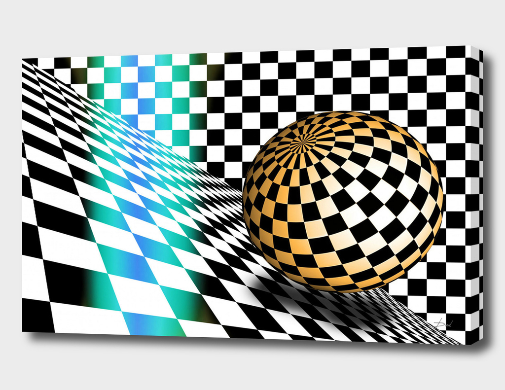 3d Sphere On Checkerboard