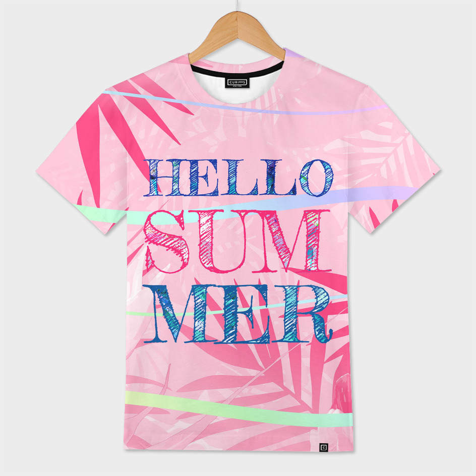Hello Summer Typography Tropical in Pink