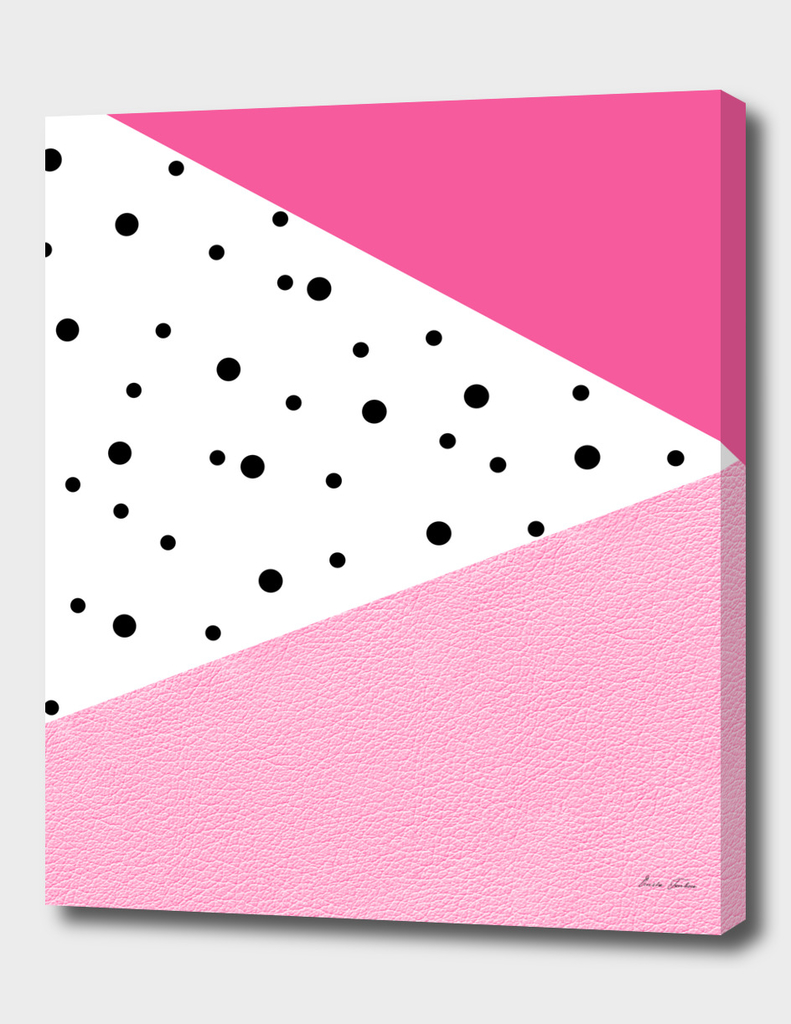 Pink leather with dots