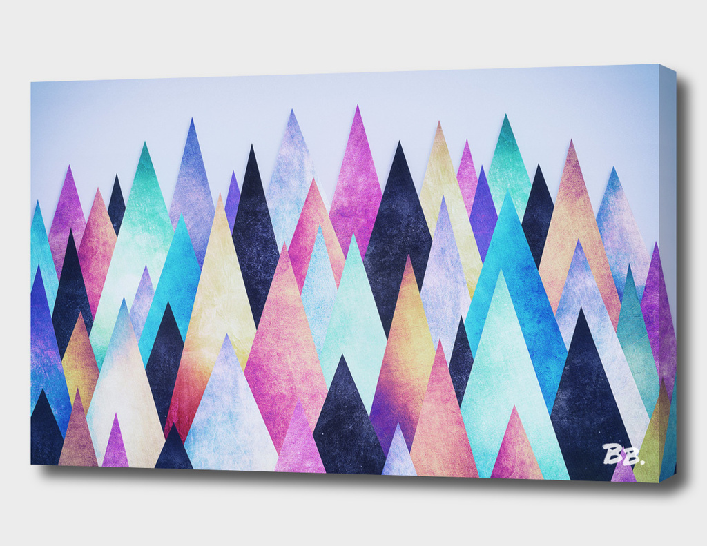 Colorful Abstract Geometric Triangle Peak Wood's