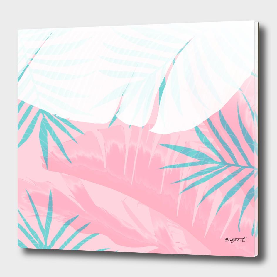 Elegant Palm Trees Pink Foliage Design