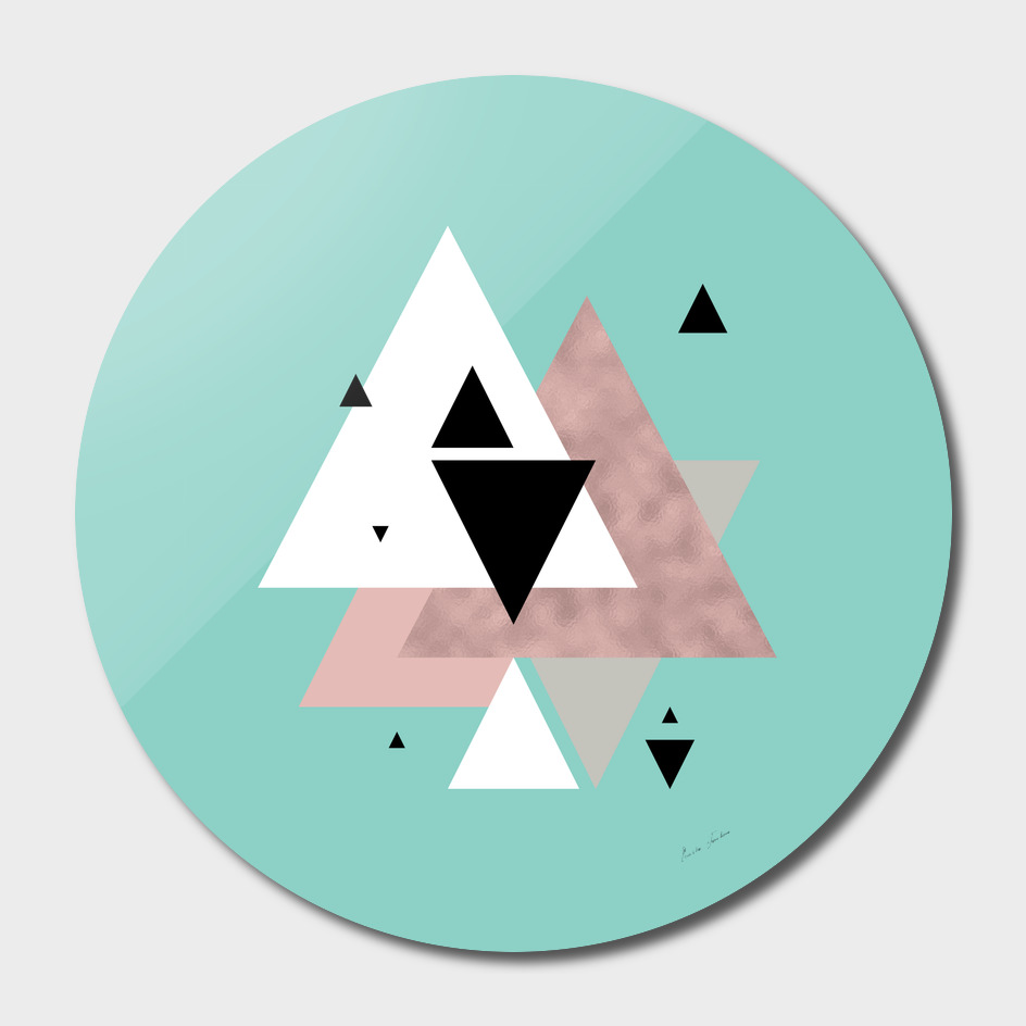 Rose gold and mint triangles