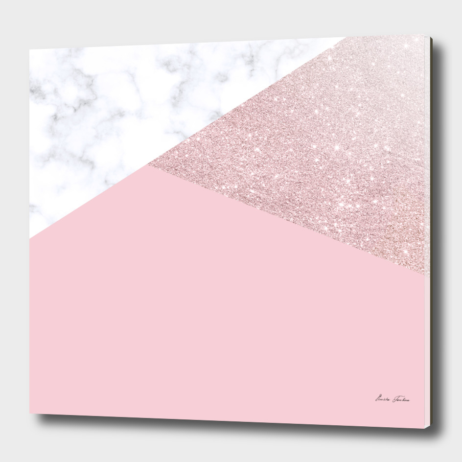 Rose gold marble and pink
