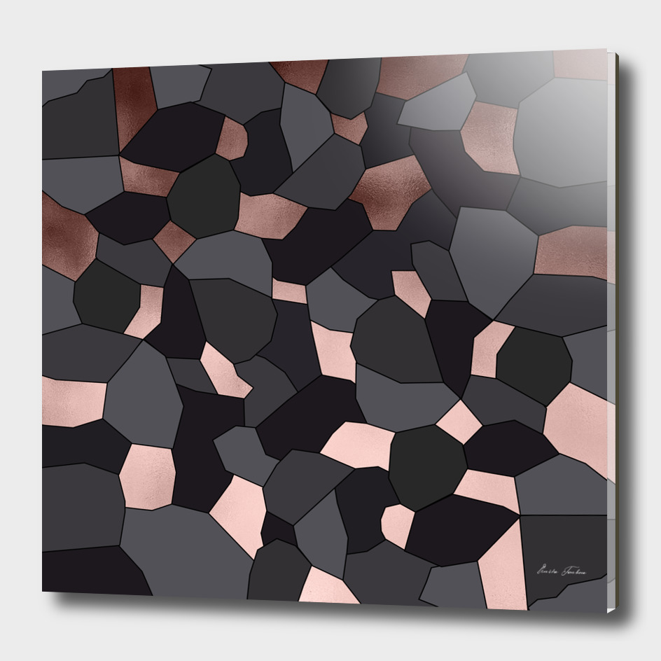 Rose gold, grey and black mosaic
