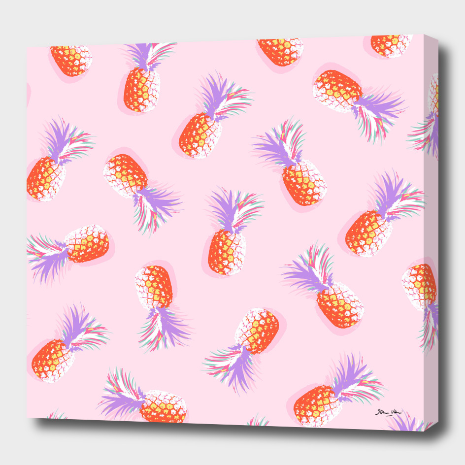 Tropical Pineapple Party Pattern - Pink and Violet