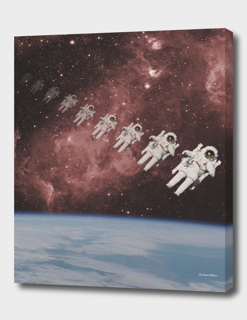 ASTRONAUT TRAVELING THROUGH TIME AND SPACE