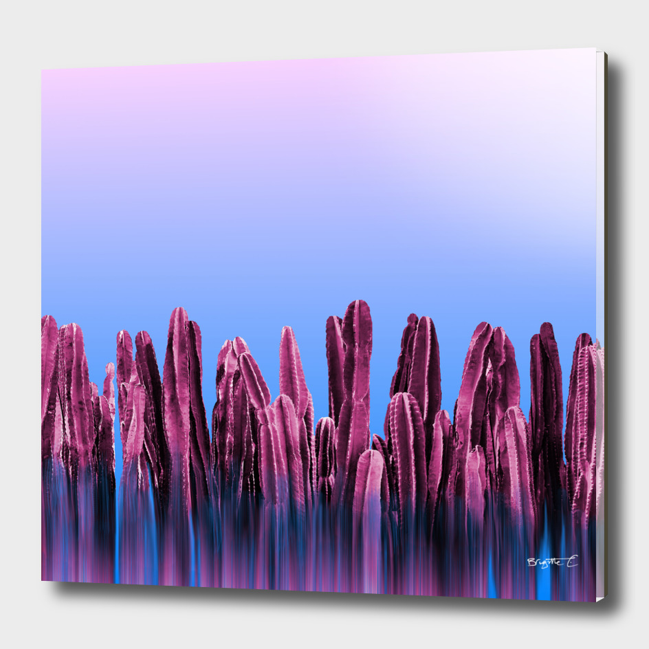 Dreamy Sunrise Cactus Landscape Glitch