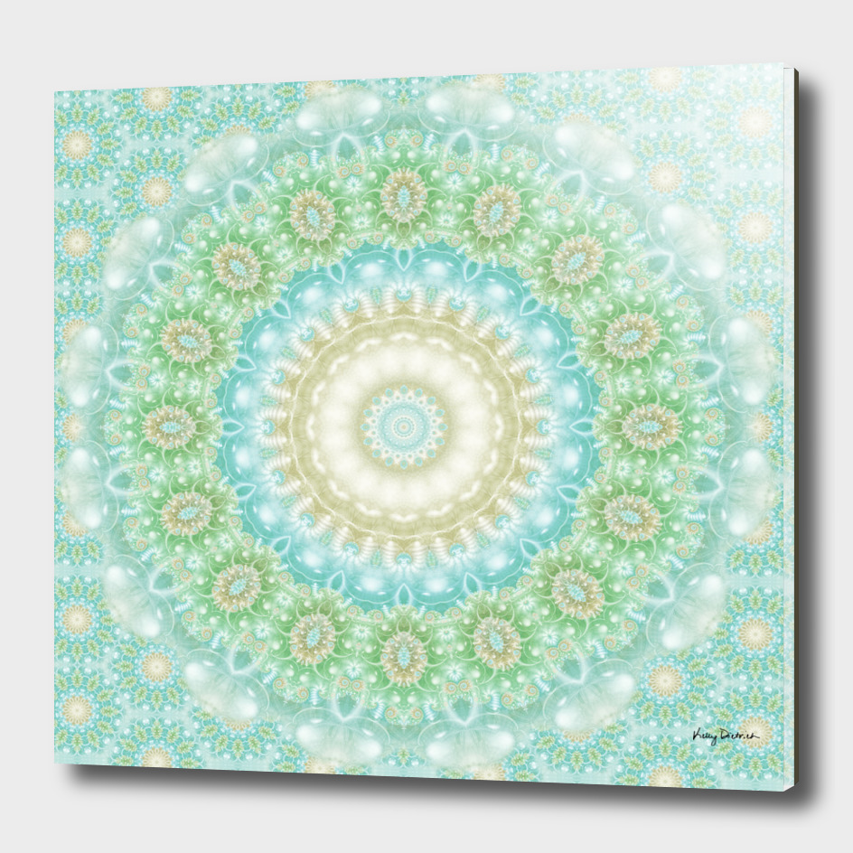 Earth and Sky Mandala in Light Green and Blue