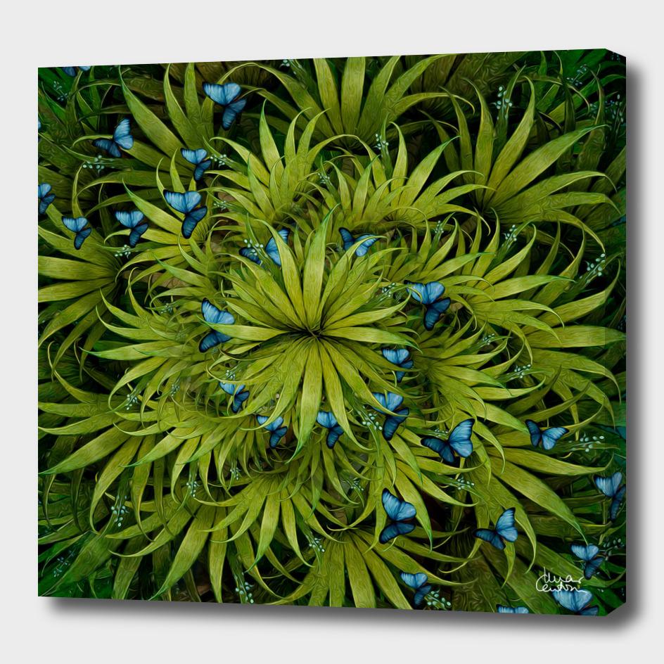 """El Bosco fantasy, tropical island blue butterflies"""
