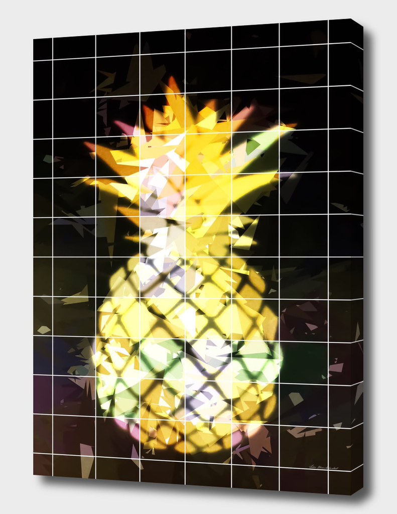 yellow pineapple with geometric triangle pattern abstract