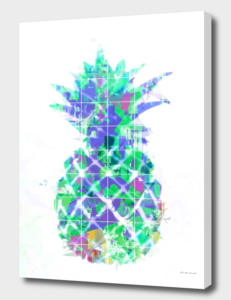 pineapple in green blue yellow with geometric triangle