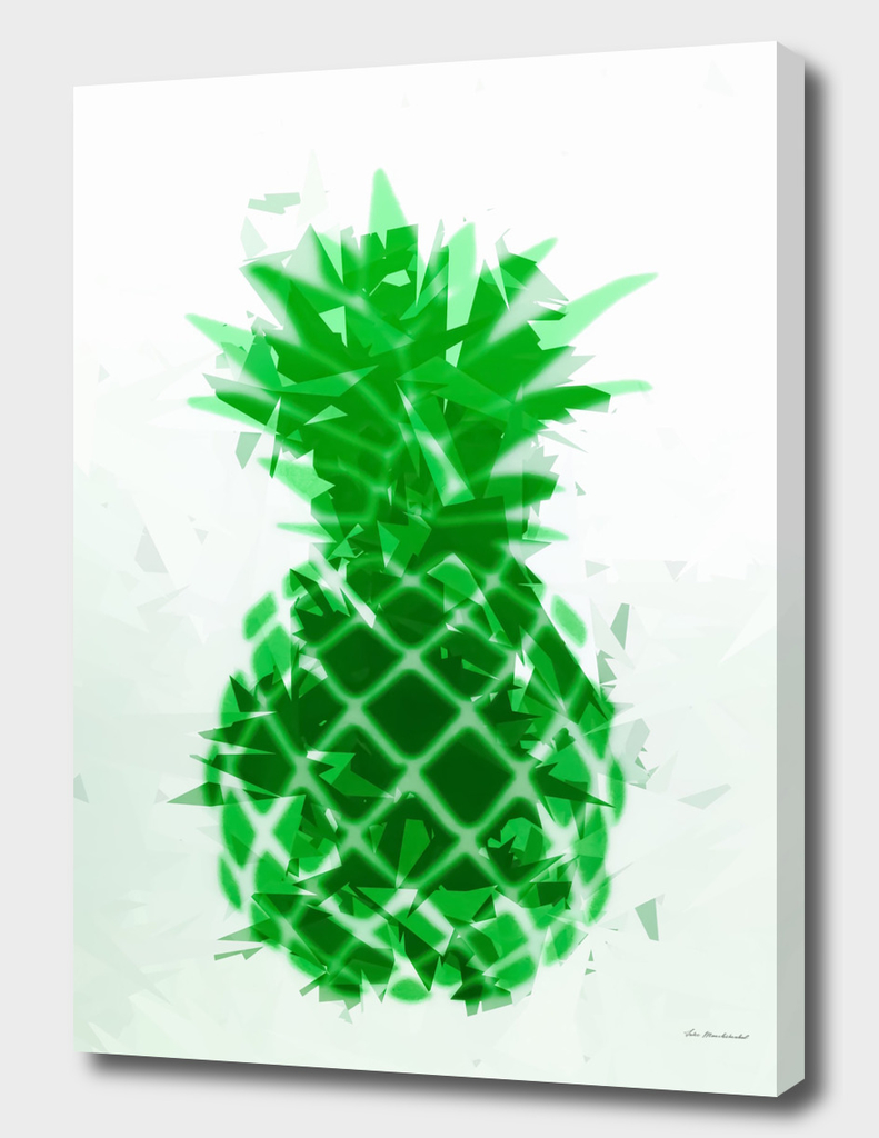 pineapple in green with geometric triangle pattern abstract