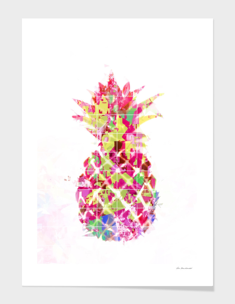 pineapple in pink yellow green blue with geometric pattern