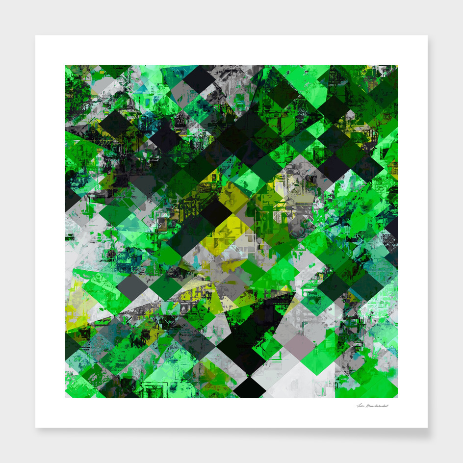 geometric square pixel pattern abstract in green and yellow