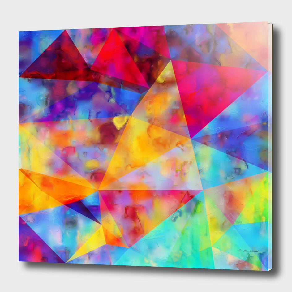geometric triangle polygon pattern abstract in orange red