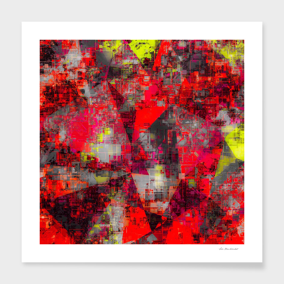 geometric triangle polygon pattern abstract in red yellow