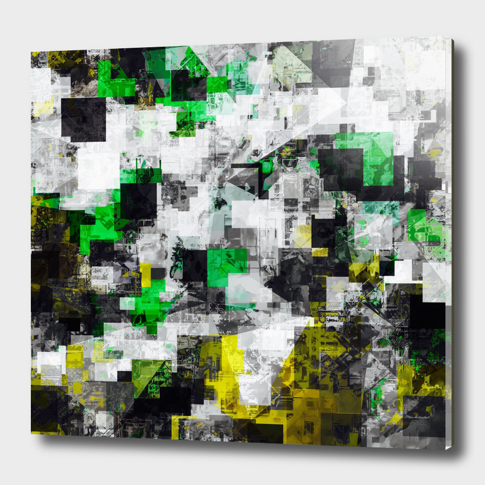 geometric square pixel pattern abstract in green yellow