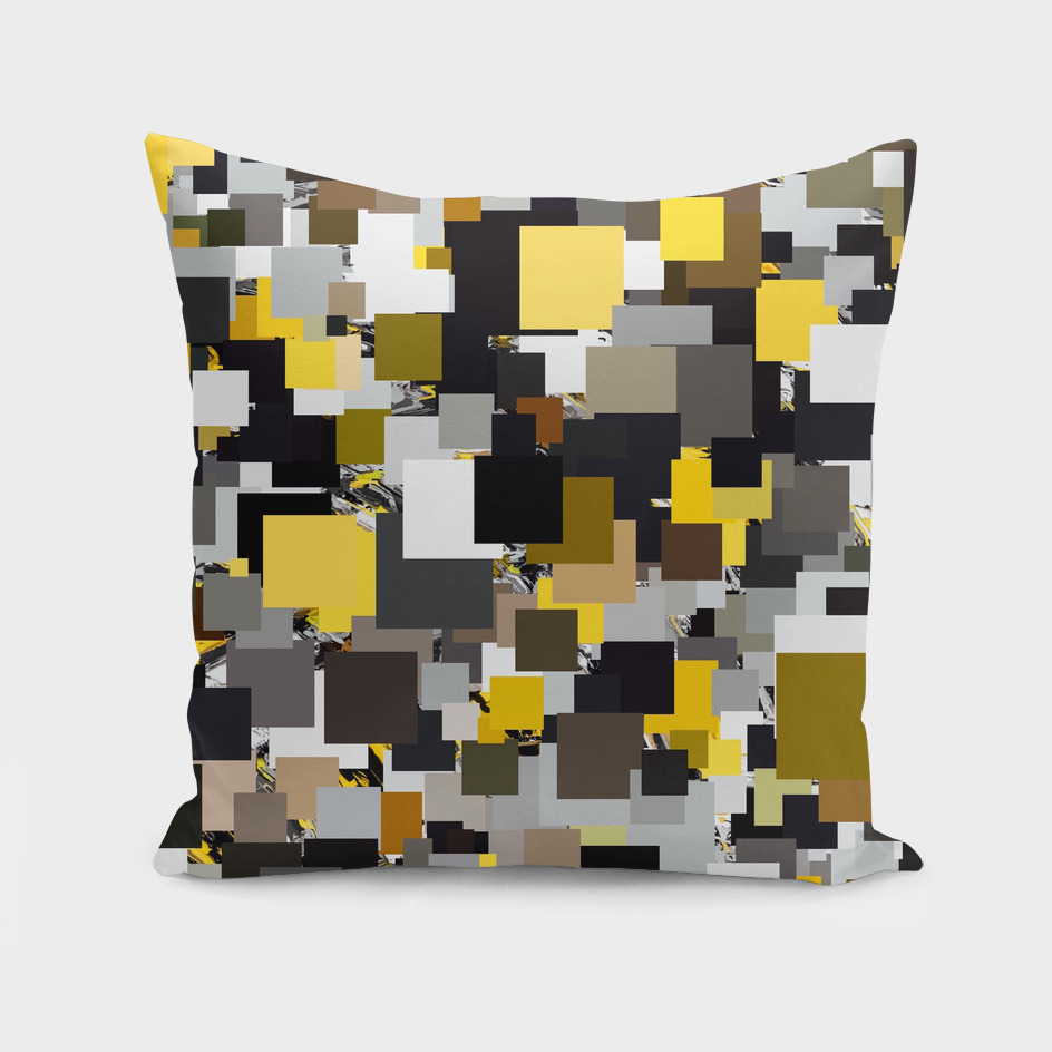 geometric square pixel pattern abstract in yellow brown