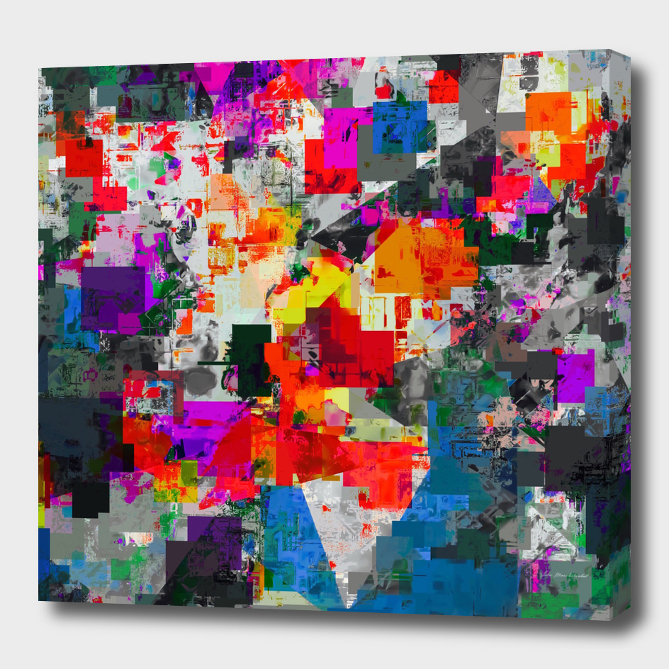geometric square pixel pattern abstract in orange red