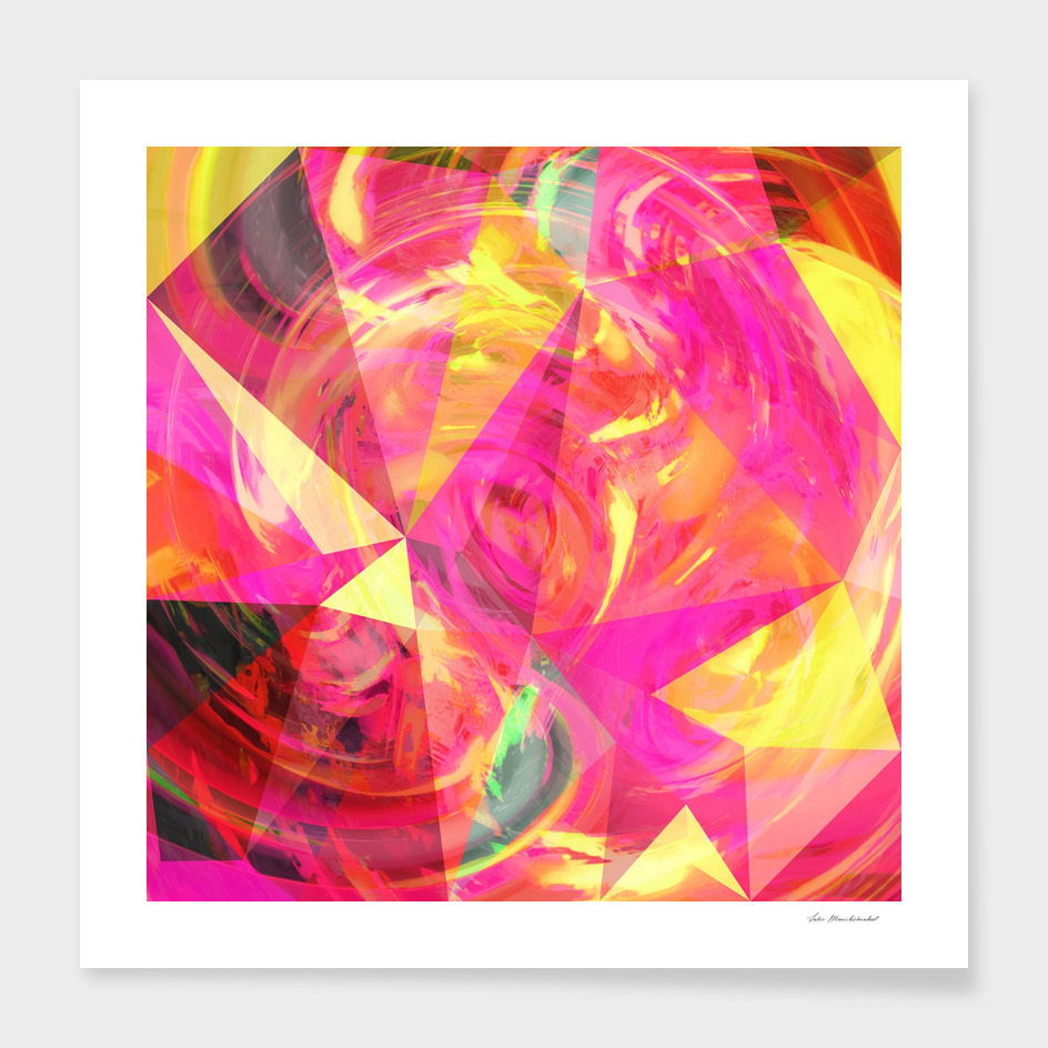 geometric triangle polygon pattern abstract in pink yellow