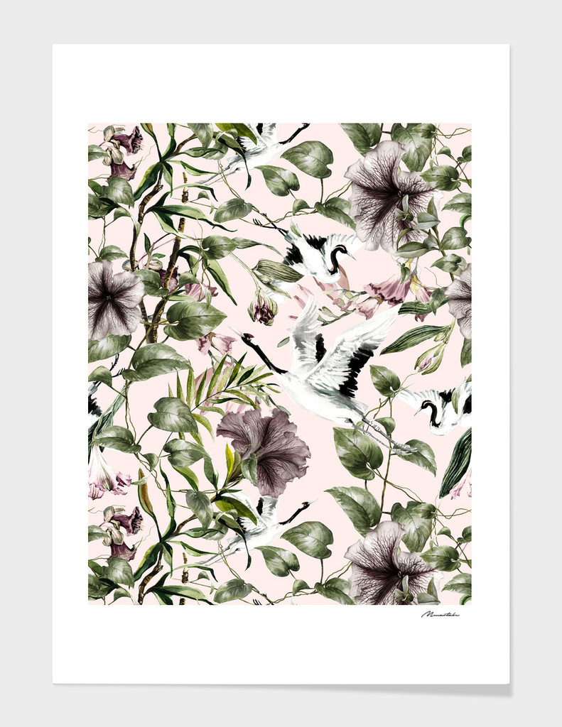 Asian pattern of crane and flowers