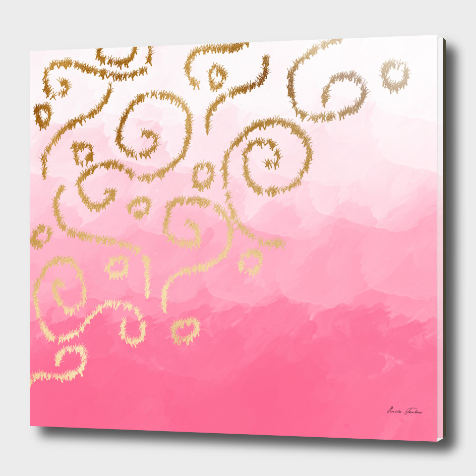 Gold and pink brushstrokes