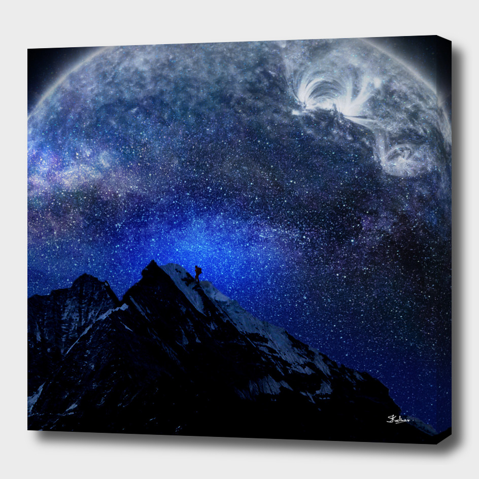 Man Hiking Night Sky A Visual Art