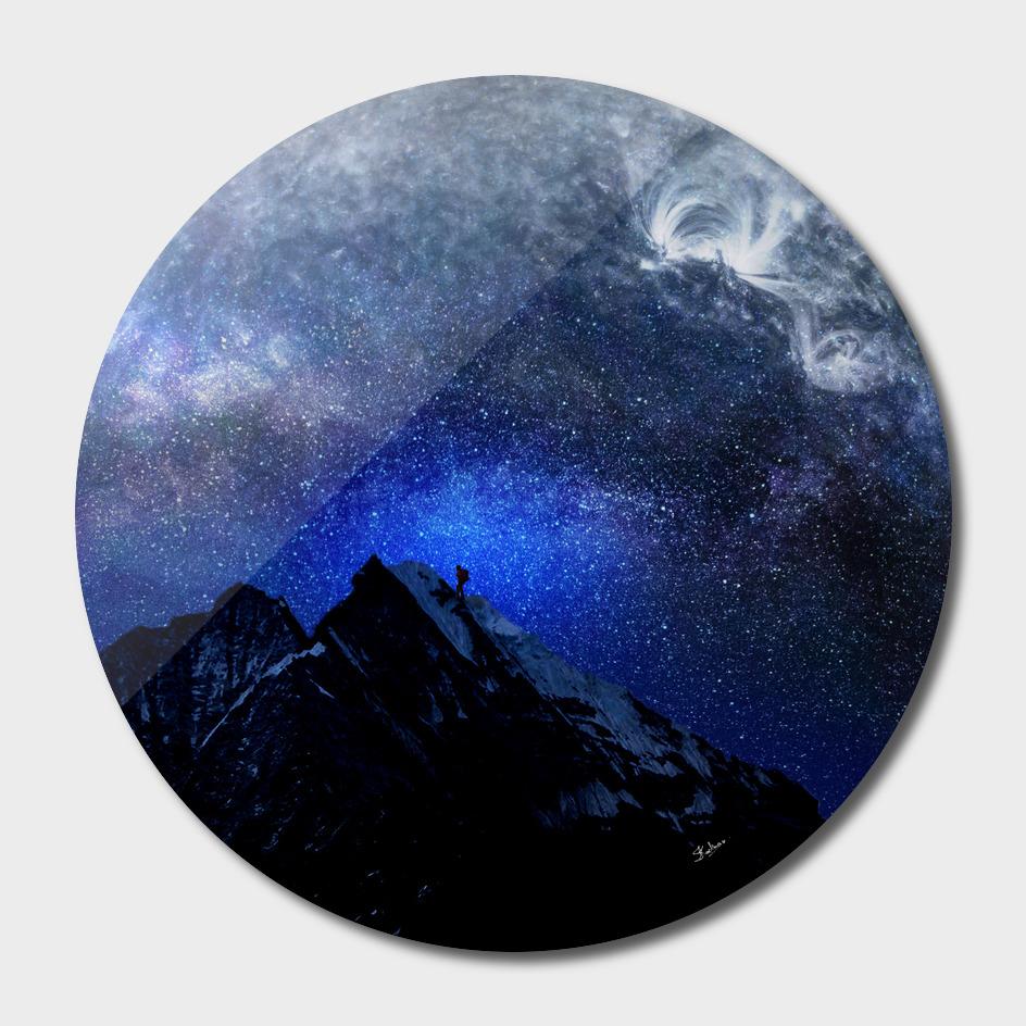 Man Hiking Night Sky A Visual Art