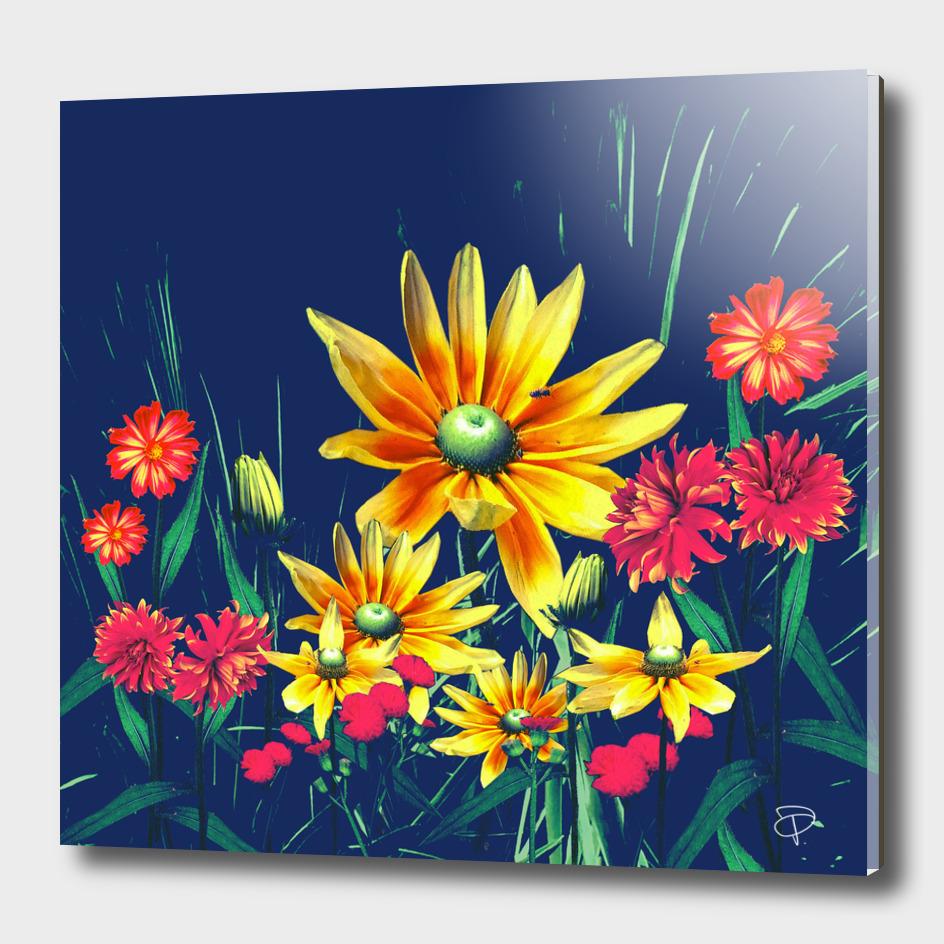 Indigo Vintage Bright Bloom Floral