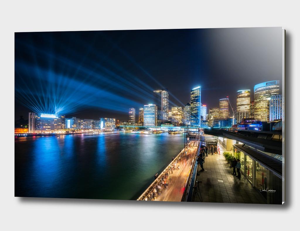 Sydney Skyline dressed in deep blue tones