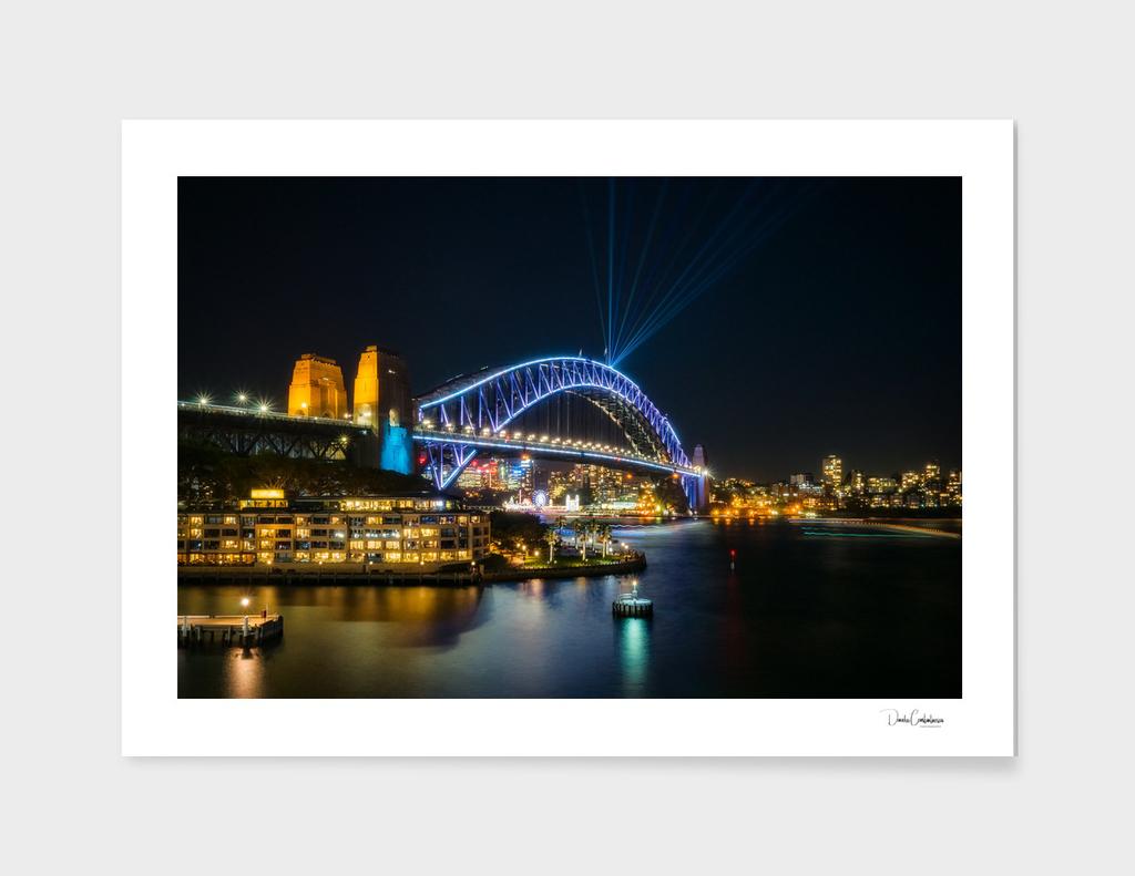 View of Sydney Harbour Bridge illuminated for Vivid