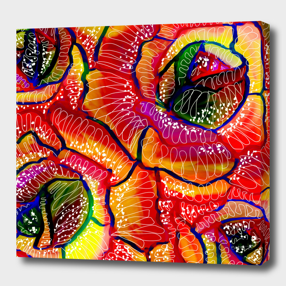 Flamboyant Colorful Roses Flowers Abstract Illustration