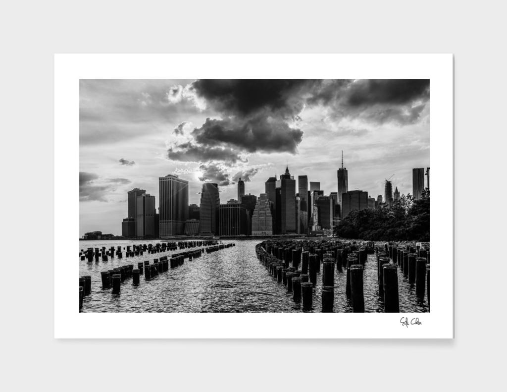 Lower Manhattan Skyline Sunset