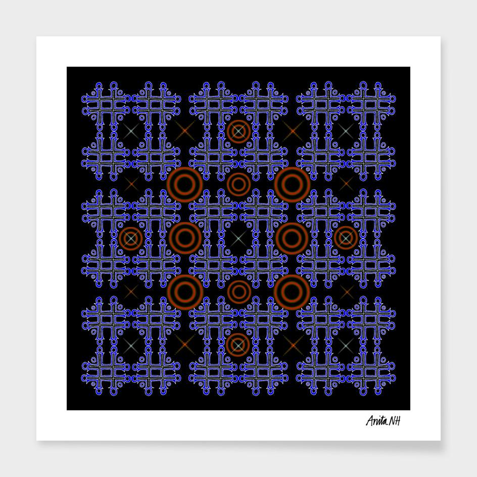 No Cross II. Blue/Red on Black