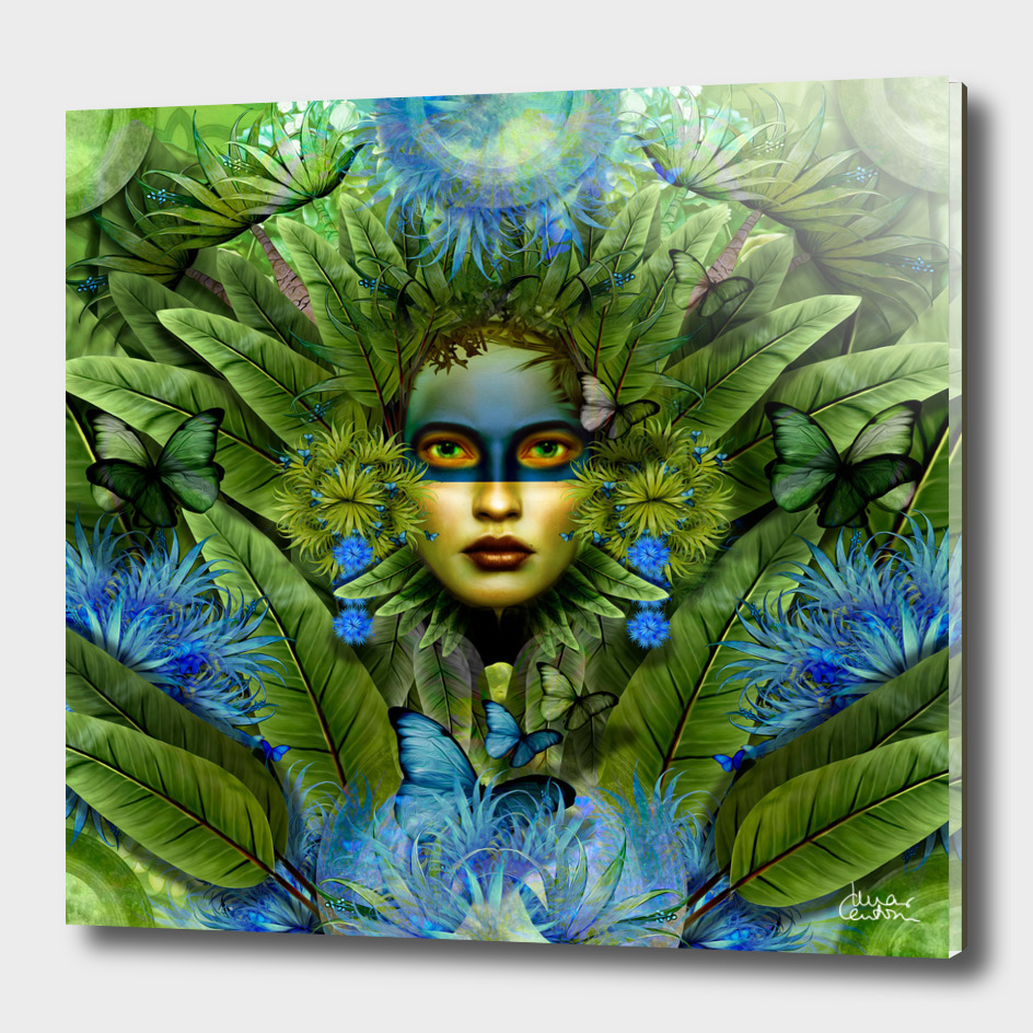 """Tropical green and indigo jungle Woman"""
