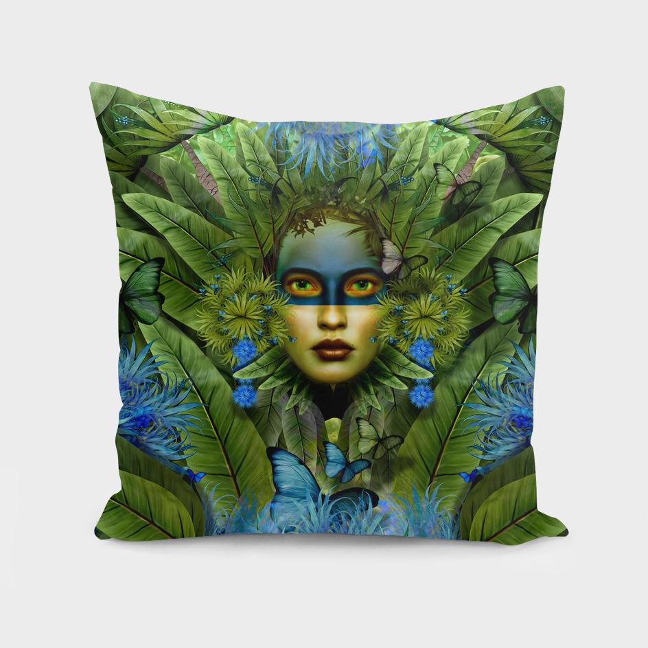 """Tropical green and indigo jungle Woman"""