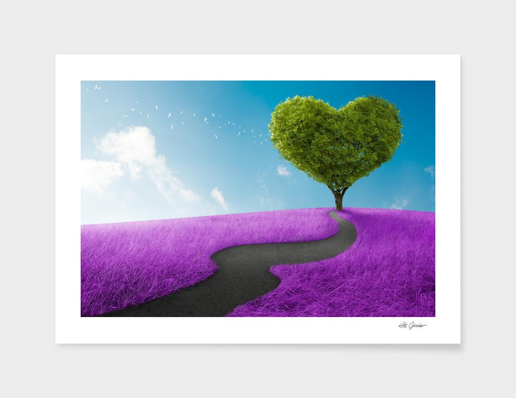 Heart tree in lavender meadow