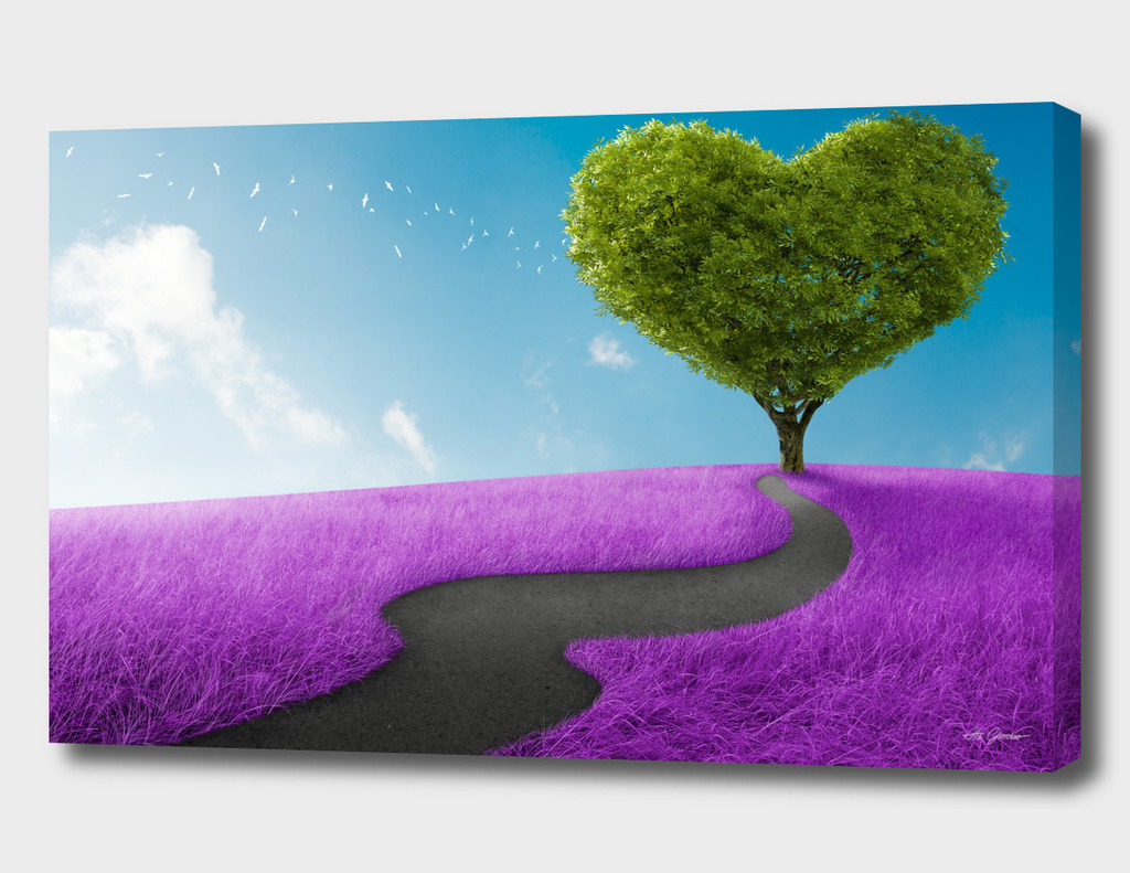 Heart tree in lavender meadow