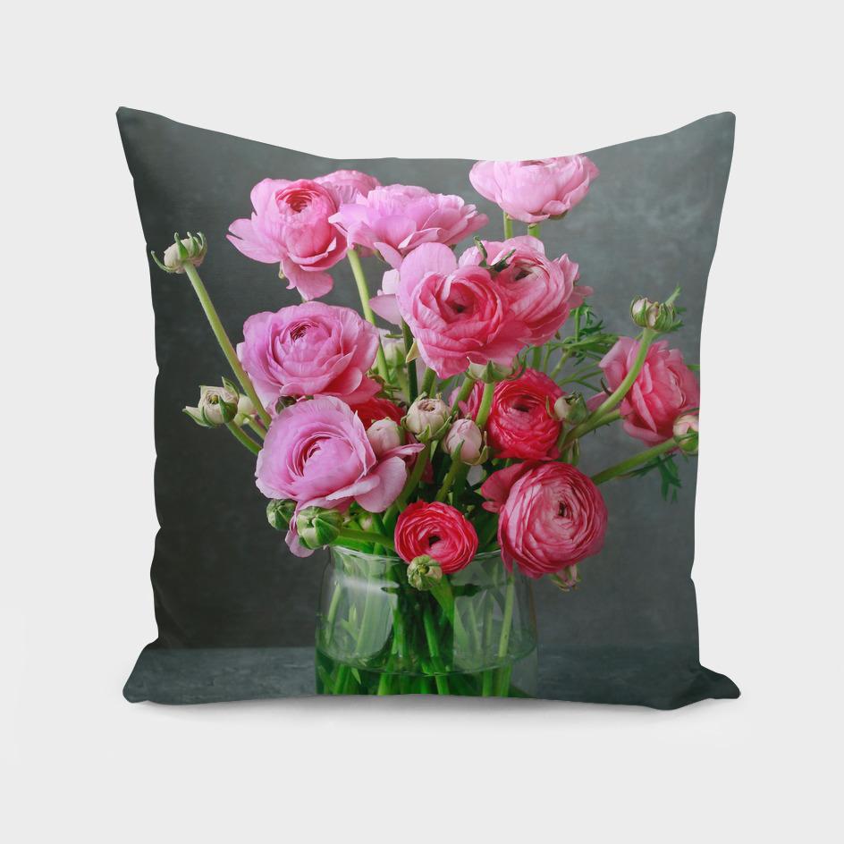 Bouquet of pink ranunculs flowers