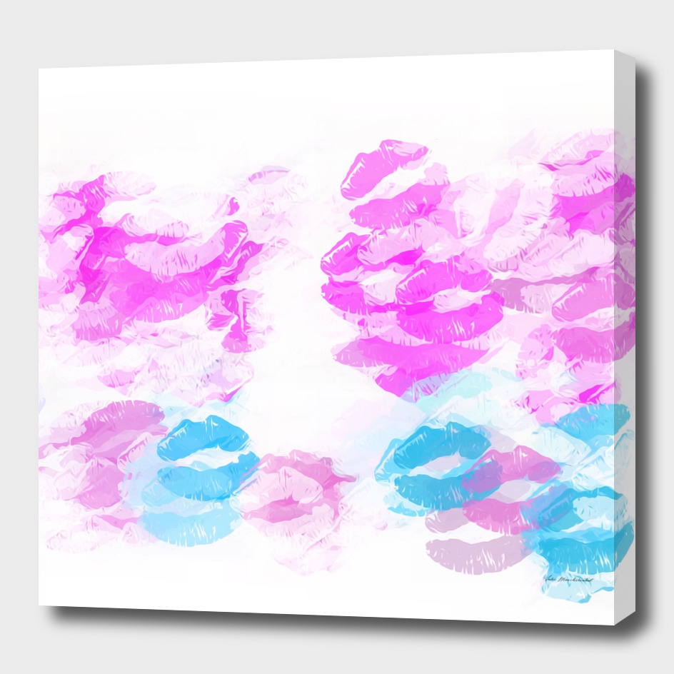 kisses lipstick pattern abstract background in pink and blue