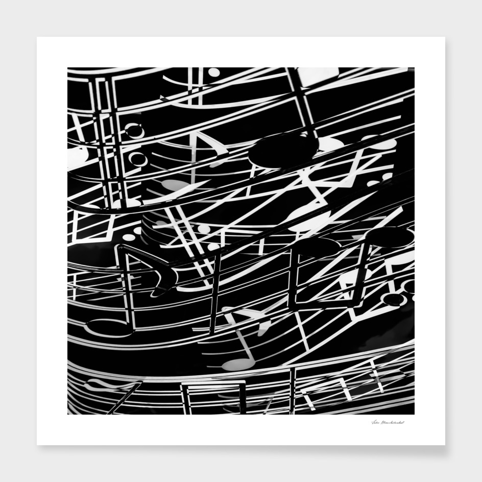 music note sign abstract background in black and white