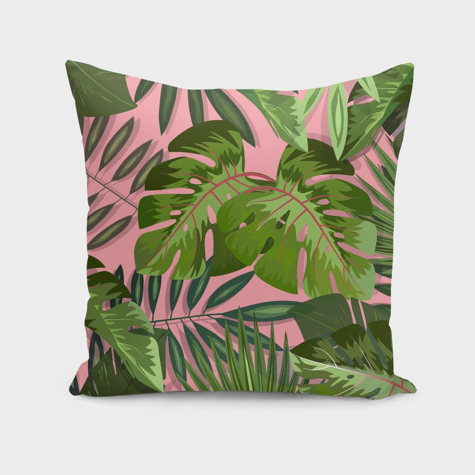 Pink b. Summer tropical leaves