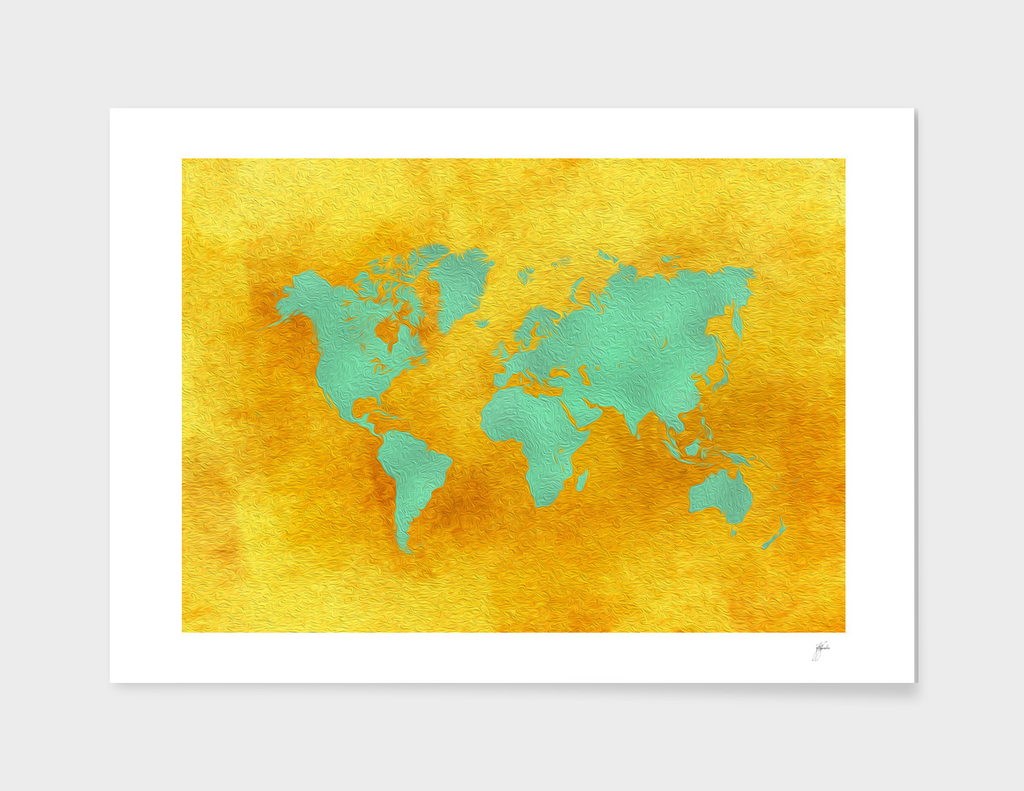 world map gold green