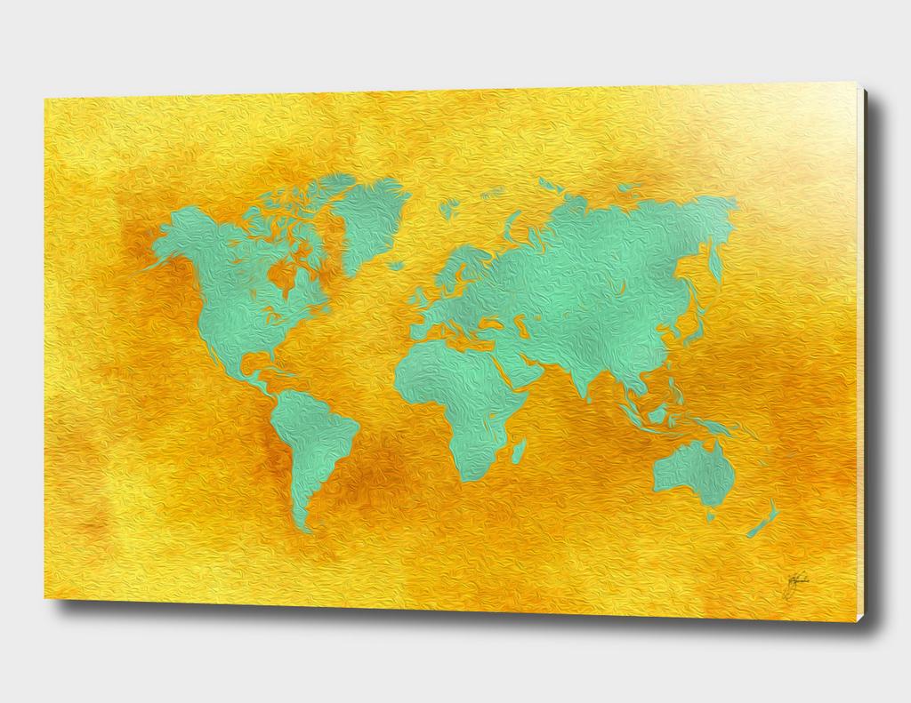 world map gold green