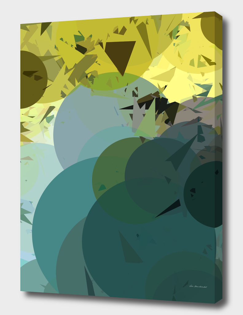 geometric circle triangle pattern abstract in blue yellow