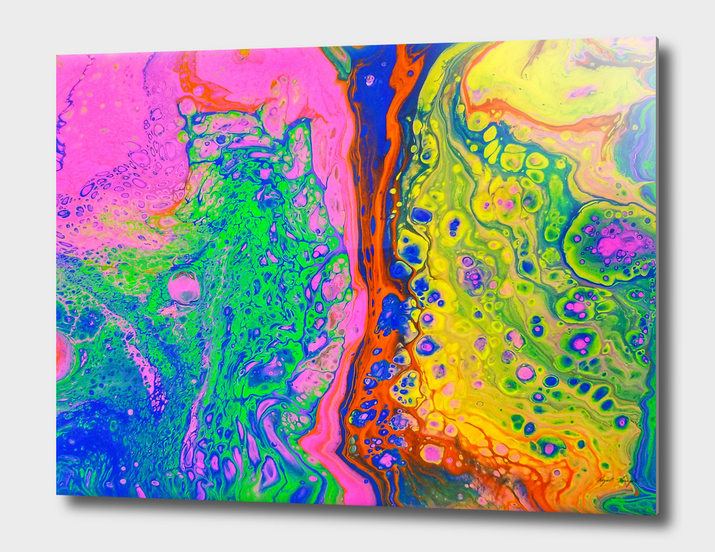 Rainbow Acrylic Dirty Pour