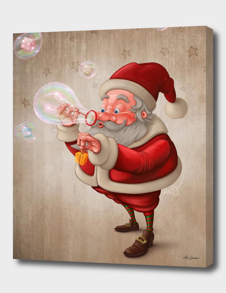 Santa Claus with bubble soap