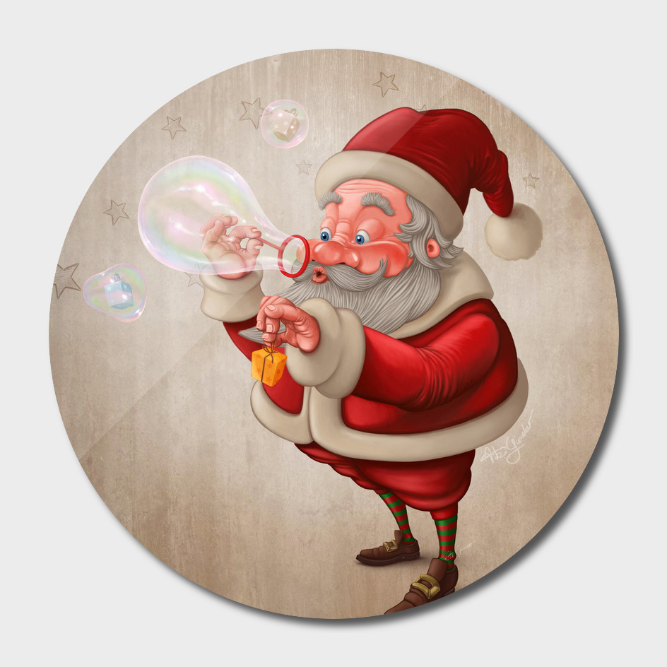 Santa Claus with bubble soap