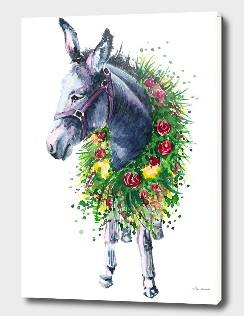 watercolor donkey in a flower wreath