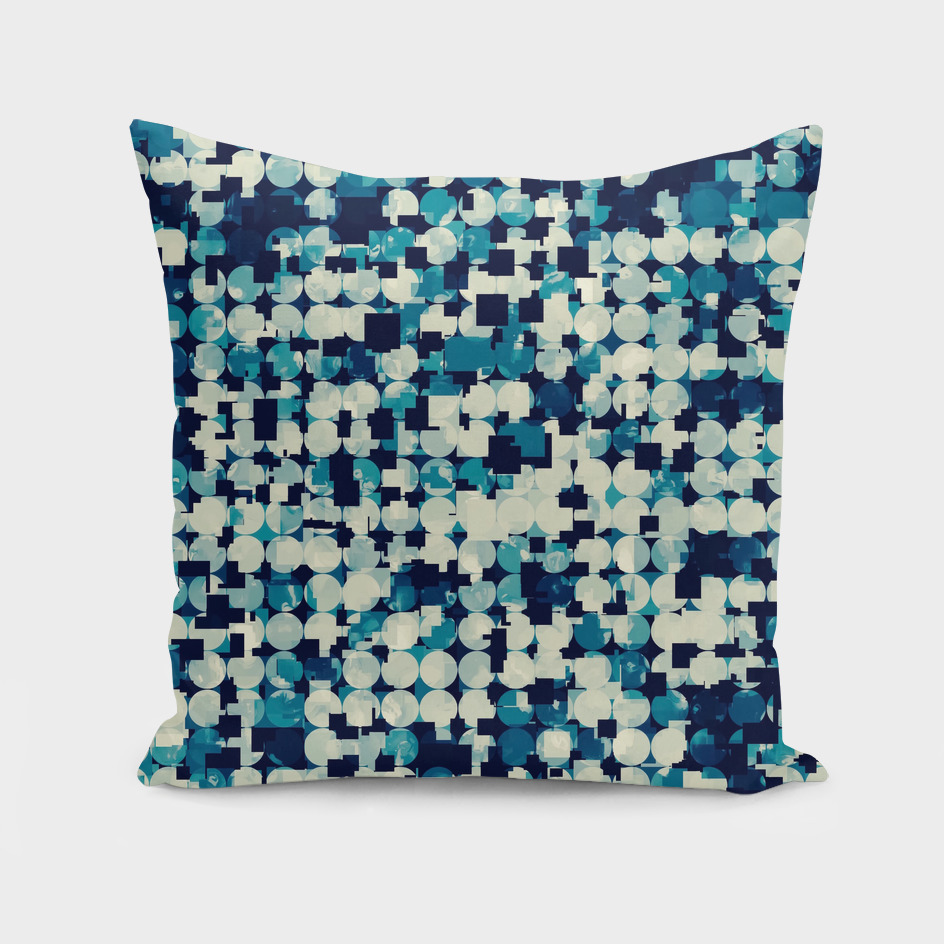 geometric square and circle pattern abstract in blue green